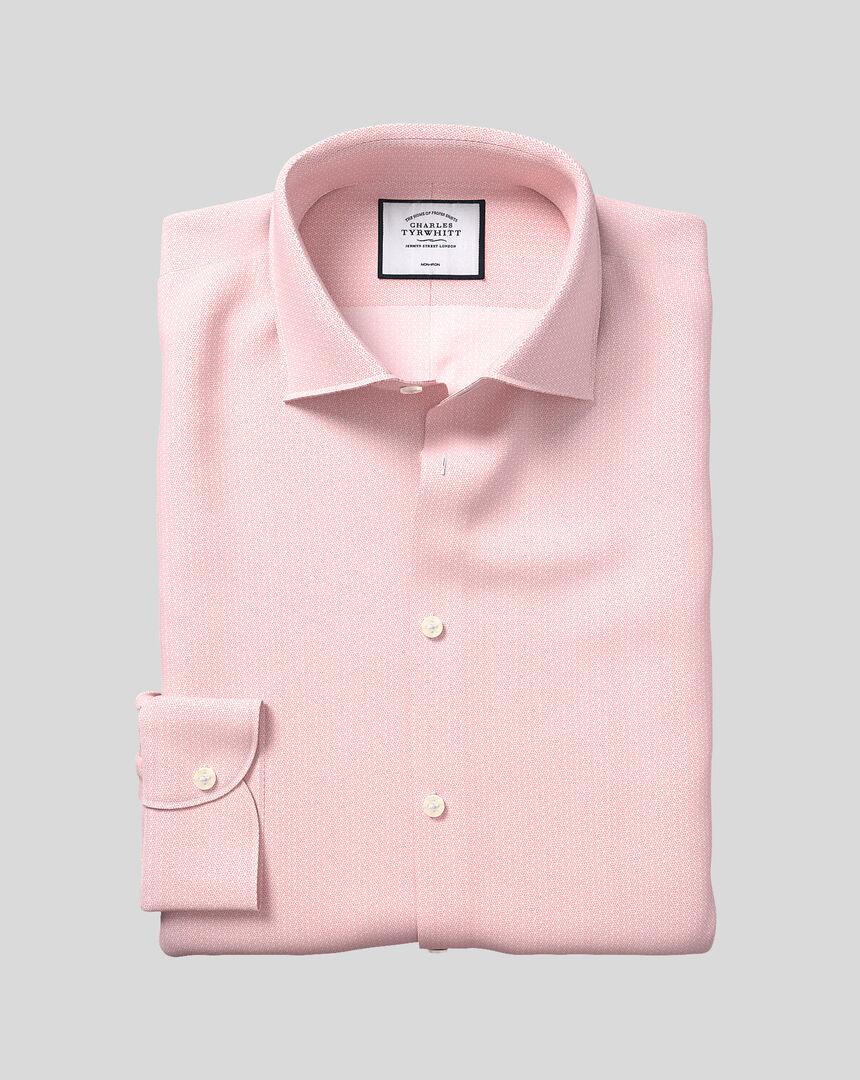 Business Casual Collar Non-Iron Geometric Print Shirt - Pink
