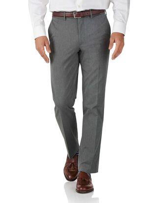 Light grey slim fit stretch cavalry twill trousers