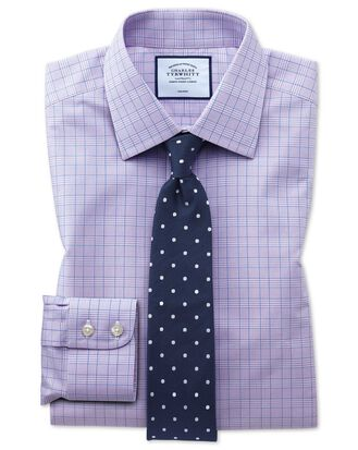 Slim fit non-iron lilac and blue Prince of Wales check shirt