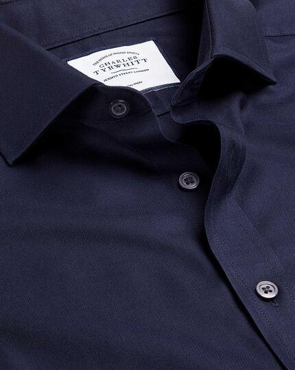 Bügelfreies Twill-Hemd mit Haifischkragen - Marineblau