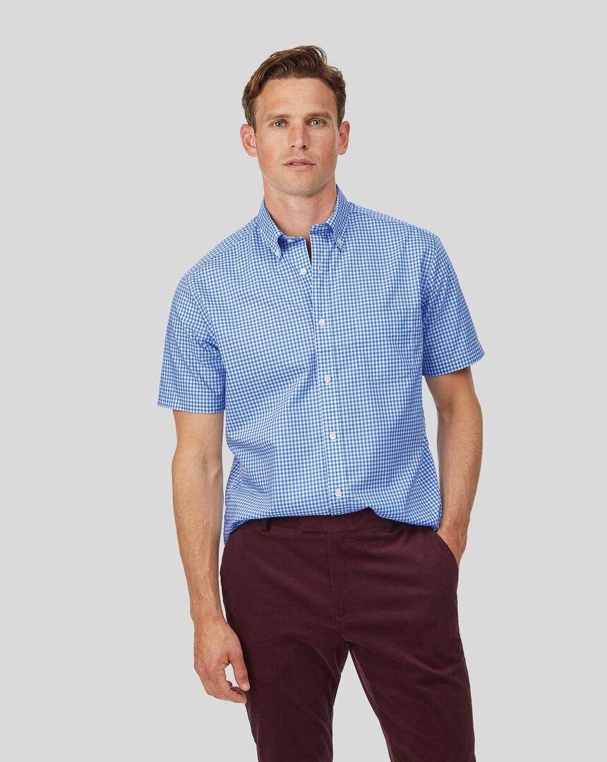 Vorgewaschenes Popeline-Kurzarmhemd mit Button-down-Kragen und Karos - Himmelblau