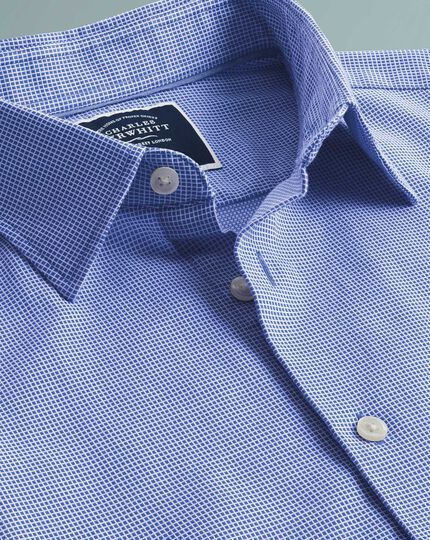Slim fit royal blue micro check short sleeve soft texture shirt