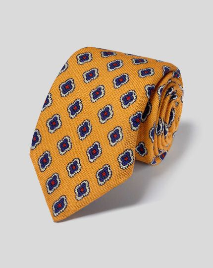 Medallion Print Italian Wool Luxury Tie - Gold & Navy