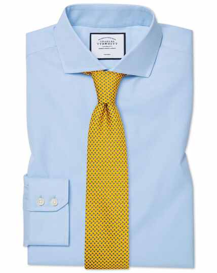 Slim fit sky blue non-iron twill spread collar shirt