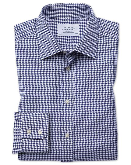 Chemise bleue slim fit avec grand motif pied-de-poule