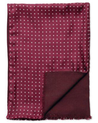 Burgundy spot printed silk scarf