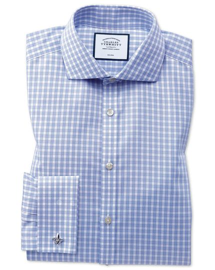 Slim fit non-iron twill sky blue gingham shirt