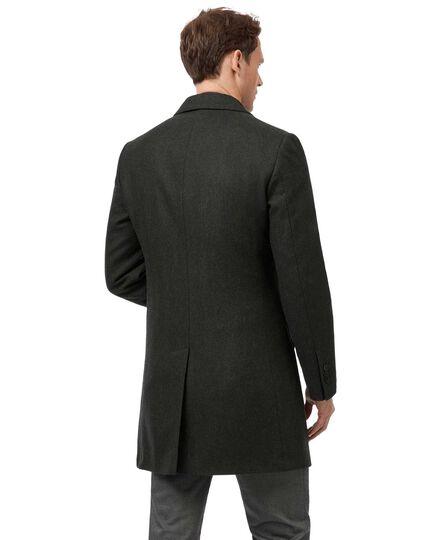 Green herringbone British wool Epsom coat