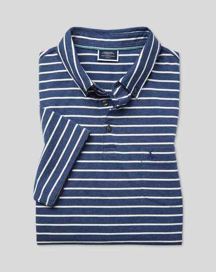 Tyrwhitt Organic Stripe Polo - Blue & White