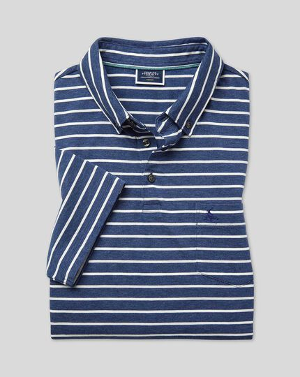 Tyrwhitt Organic Stripe Polo - Indigo Blue & White