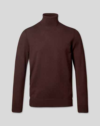 Merino Roll Neck Jumper - Dark Brown
