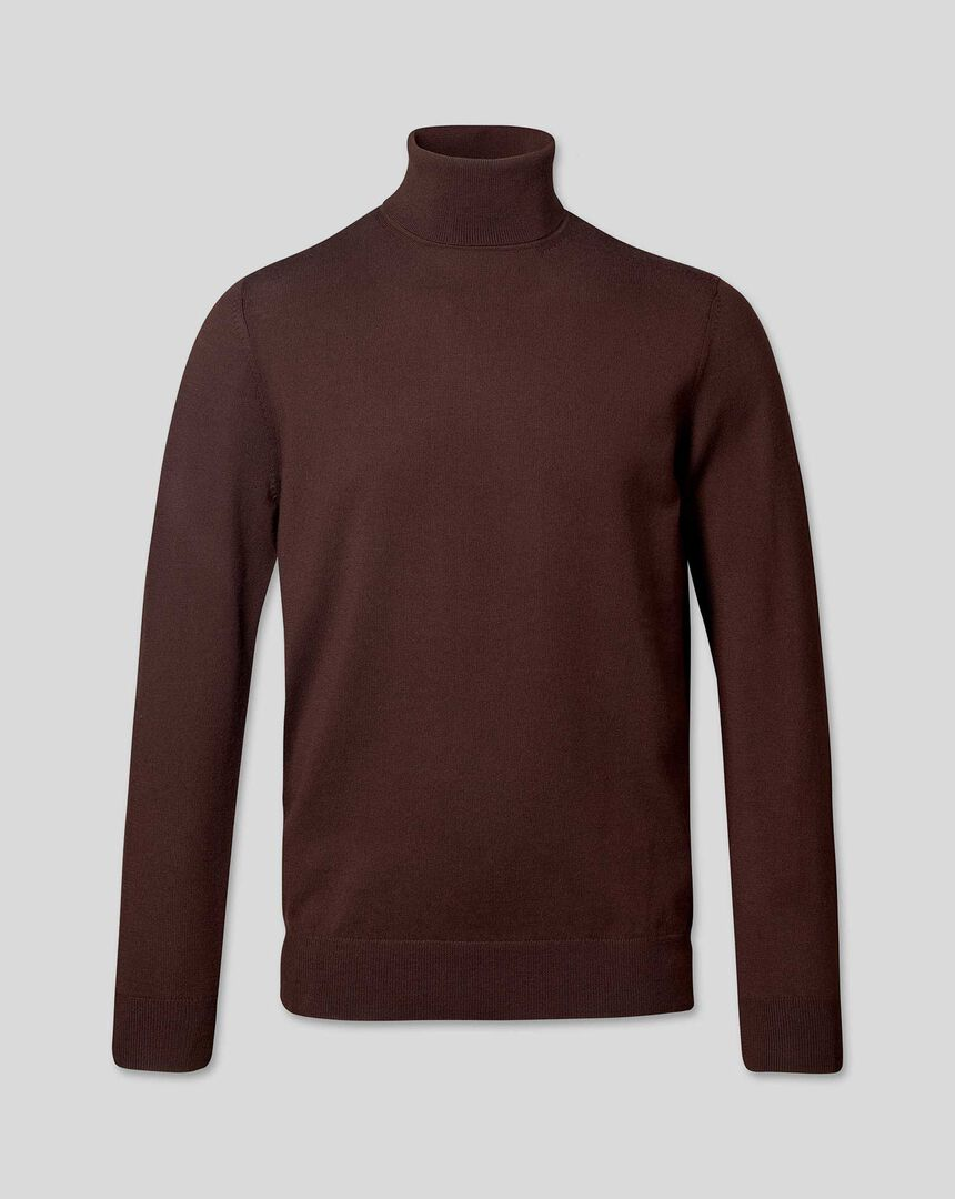 Merino Turtle Neck Sweater - Dark Brown