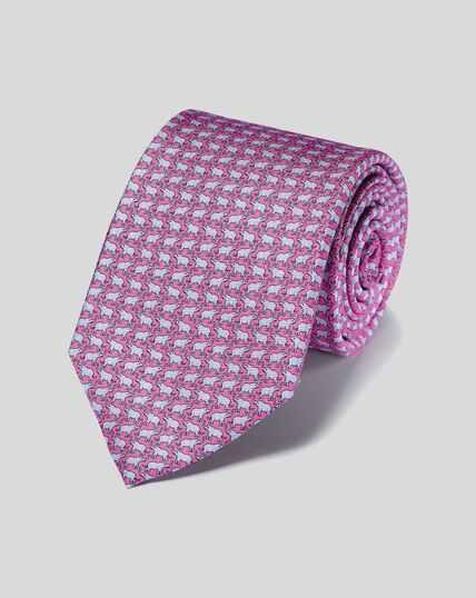 Elephant Silk Print Tie - Pink