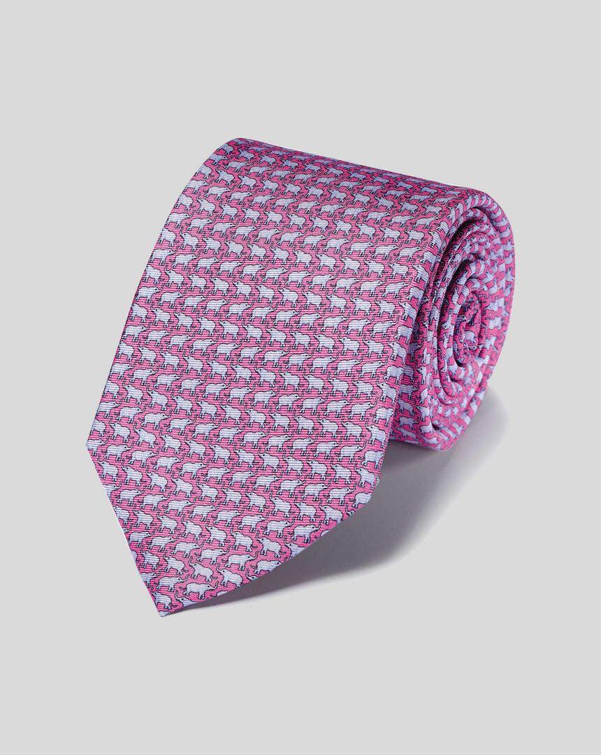 Krawatte aus Seide mit Elefanten-Print - Rosa