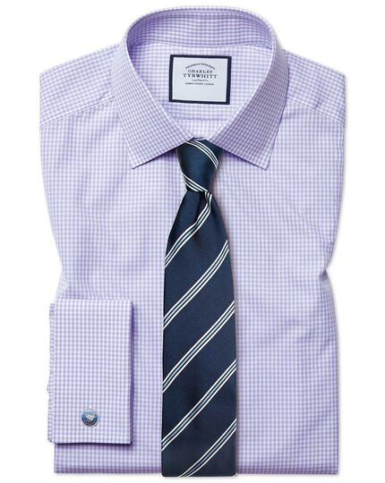 Classic fit small gingham lilac shirt
