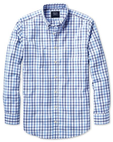 Extra slim fit non-iron white and blue large check shirt