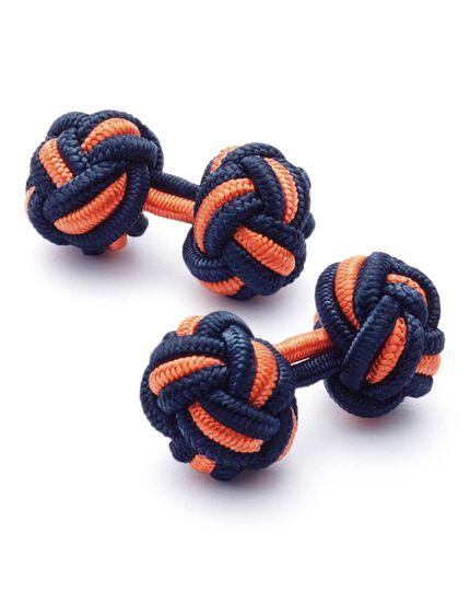 Navy and orange knot cufflinks