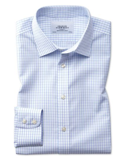 Extra slim fit non-iron small windowpane check light blue shirt