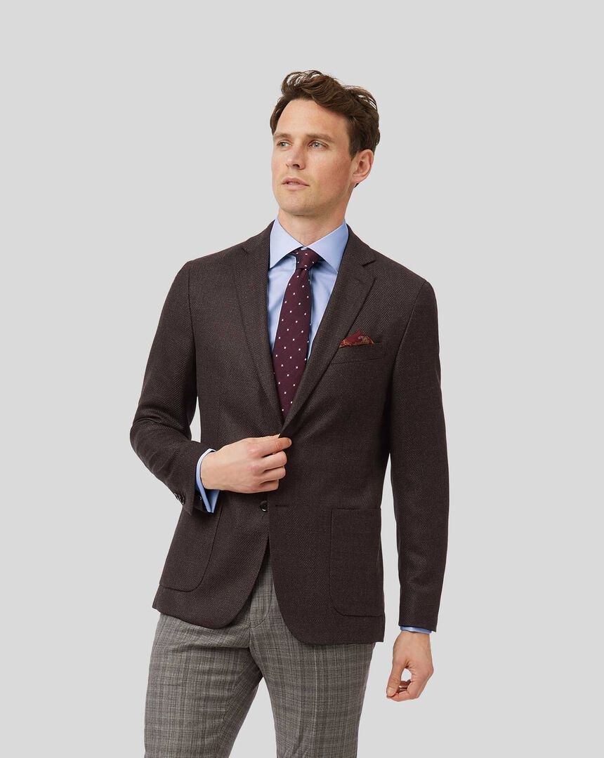 Textured Italian Wool Cashmere Jacket - Dark Brown