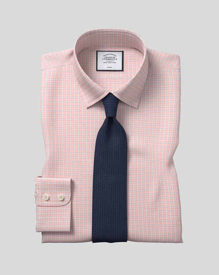 Classic Collar Non-Iron Grid Check Shirt - Pink