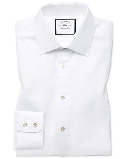 Extra slim fit fine herringbone white shirt