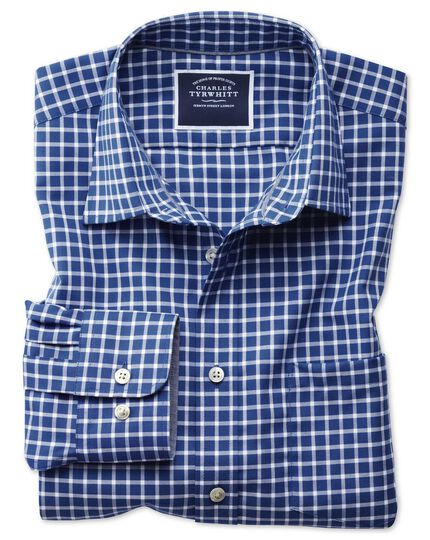 Slim fit non-iron Oxford royal blue and white grid check shirt