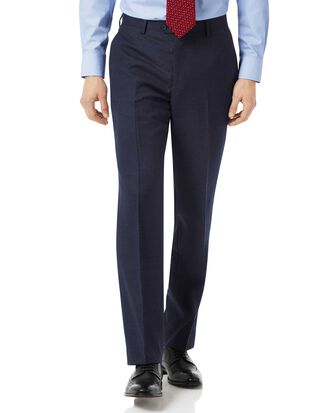 Navy classic fit jaspe business suit pants