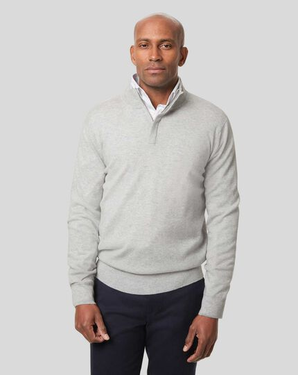 Merino Cashmere Zip Neck Sweater - Silver