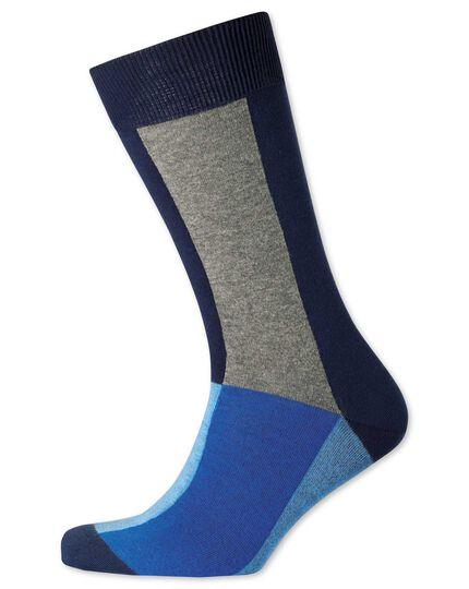 Chaussettes bleues à carrés multicolores