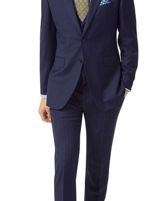 Blue slim fit twill stripe business suit