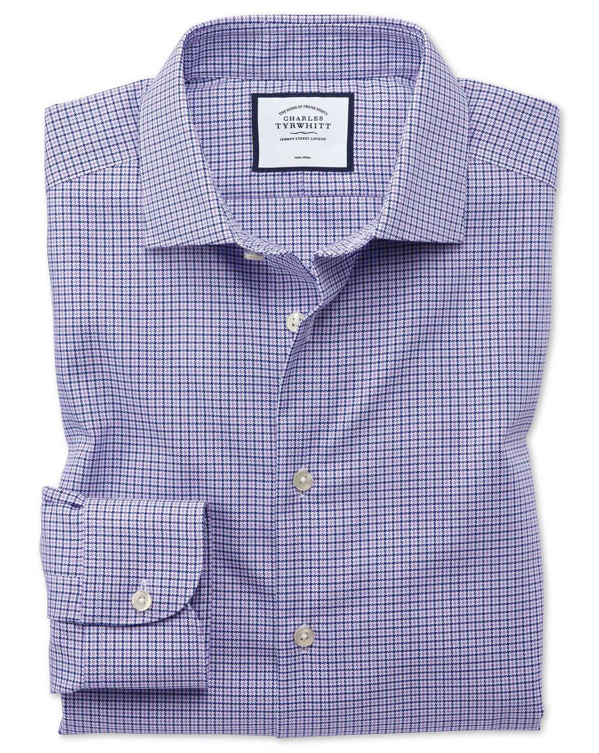 Slim fit business casual non-iron puppytooth modern texture lilac shirt
