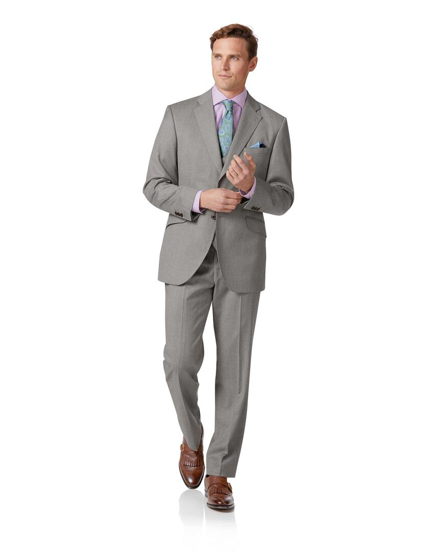 Silver grey classic fit Italian suit