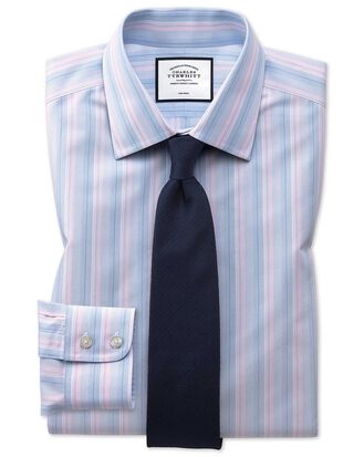 Extra slim fit non-iron pink and blue multi stripe shirt