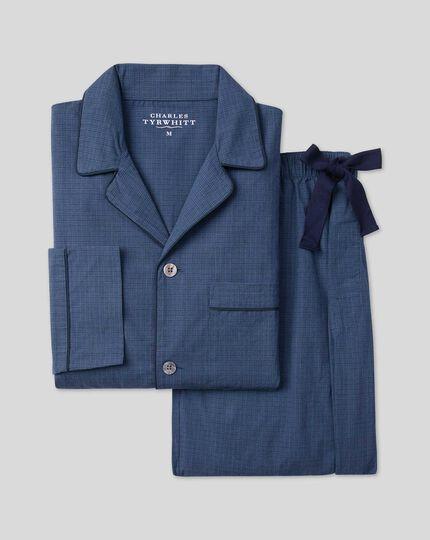 Check Pajama Set  - Navy