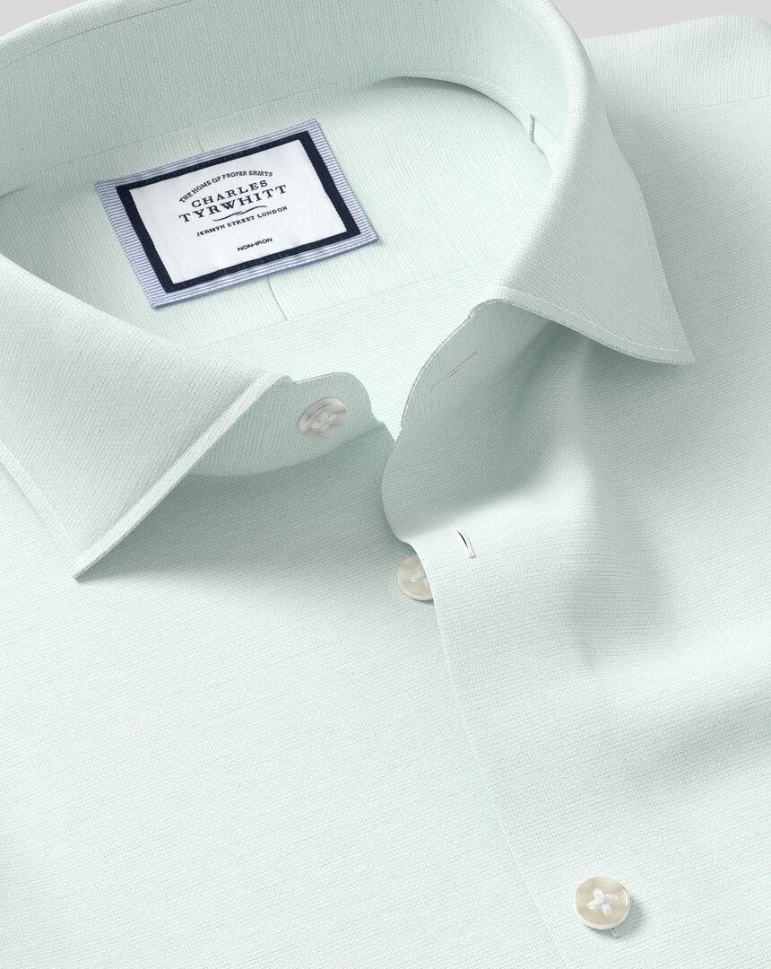 Business Casual Collar Non-Iron Cotton Linen Oxford Shirt - Mint