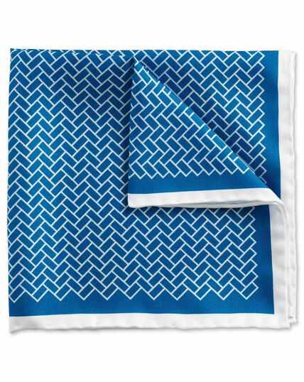 Pochette de costume classique bleue et blanche avec imprimé pavé