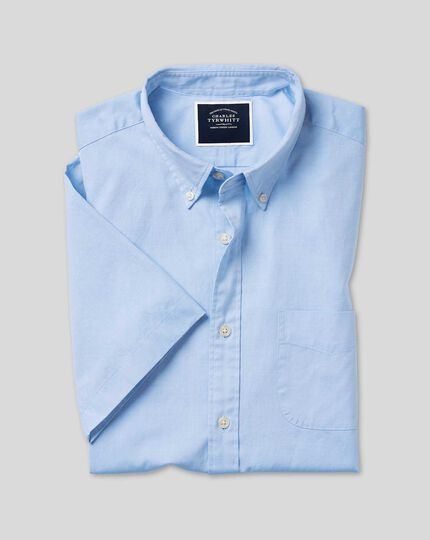 Oxford-Kurzarmhemd mit Button-down-Kragen - Himmelblau