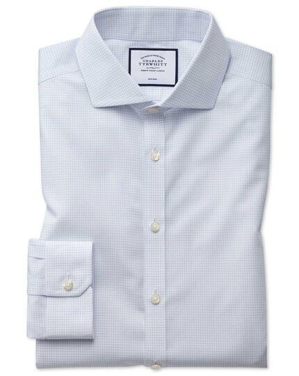 Bügelfreies Super Slim Fit Natural Cool Hemd mit Haifischkragen und Mini-Karos in Blau