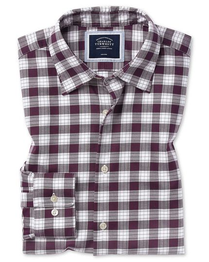 Slim fit berry and white check soft wash non-iron stretch Oxford shirt