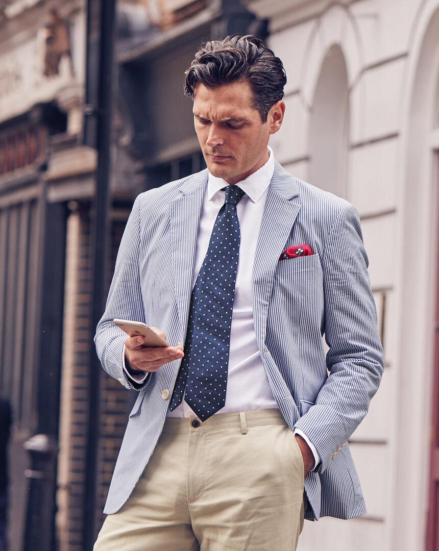 Striped Cotton Jacket - Blue