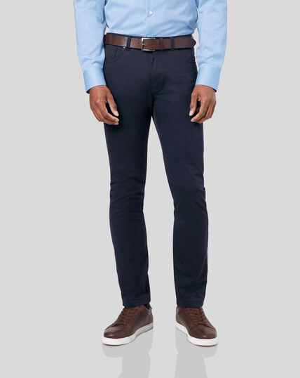 Cotton Stretch 5-Pocket Pants - Navy