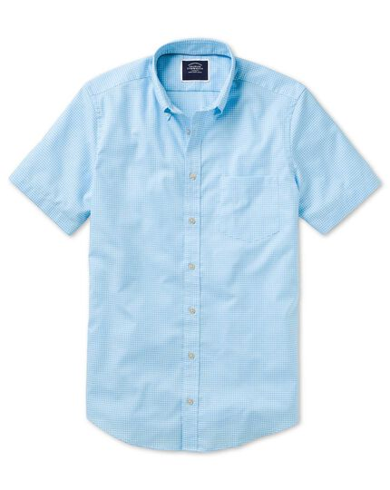 Slim fit sky blue short sleeve gingham soft washed non-iron stretch shirt