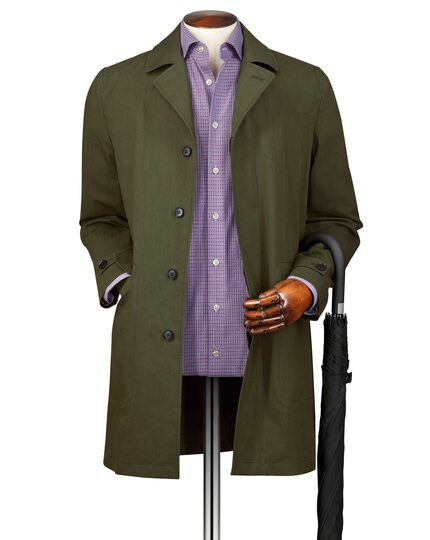 Olive Italian cotton raincoat