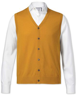 Gold yellow merino waistcoat