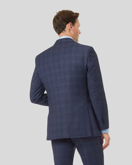Luxury Check Suit Jacket - Airforce Blue