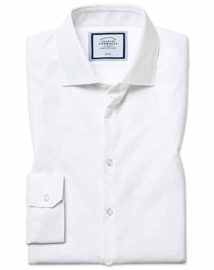 Super slim fit non-iron natural stretch textures white shirt