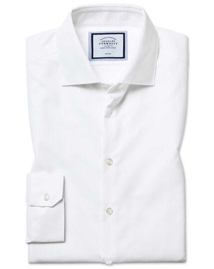 Bügelfreies Super Slim Fit Hemd aus Strukturgewebe mit Natural Stretch in Weiß