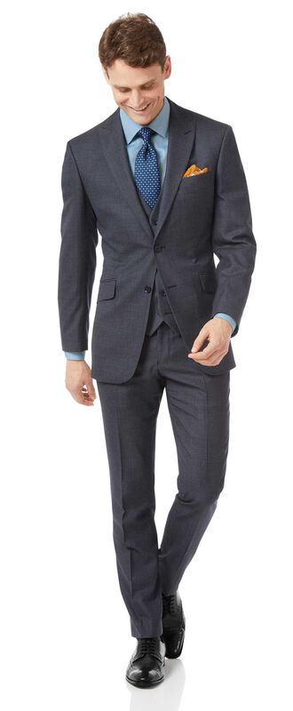 Costume business bleu acier jaspé slim fit