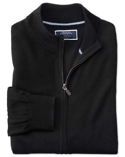 Black merino wool zip through cardigan
