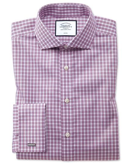 Slim fit non-iron twill gingham berry shirt